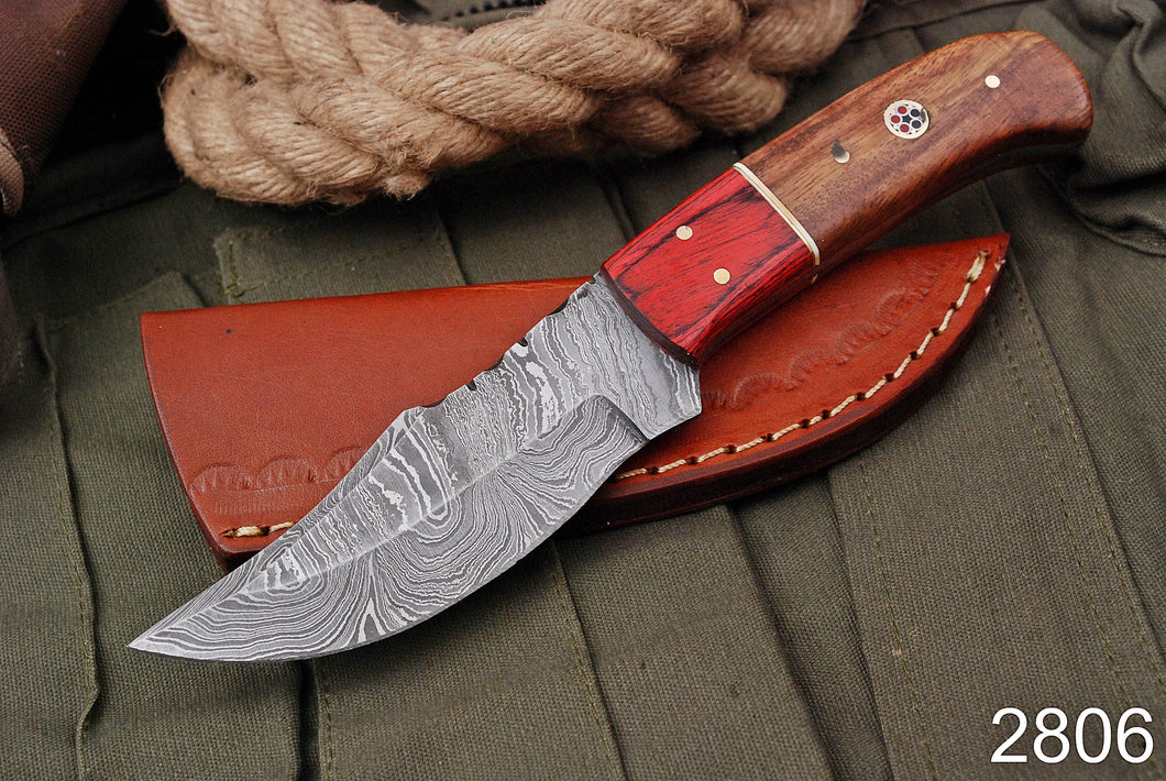 Custom Hand Forged Damascus Hunting Knife Steel Bolster STAIN WOOD & Rose Wood Handle-AJ-2806