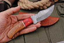 Load image into Gallery viewer, Custom Hand Forged Damascus Hunting Knife Steel Bolster STAIN WOOD & Rose Wood Handle-AJ-2806