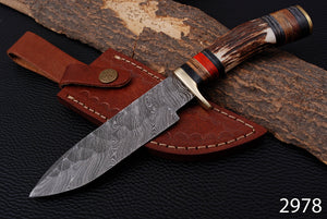 Custom Hand Forged Damascus Steel Hunting Knife Stag Handle Brass Guard with Pure Leather Sheath- AJ 2978