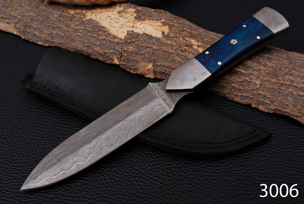 Custom Hand Made Damascus Steel Hunting Knife Damascus Bolster with Bone Handle-AJ 3006