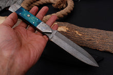 Load image into Gallery viewer, Custom Hand Made Damascus Steel Hunting Knife Damascus Bolster with Bone Handle-AJ 3006