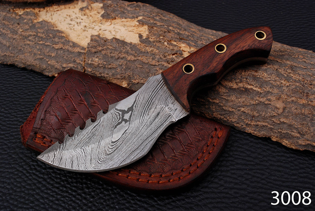 Custom Hand Forged Damascus Tracker Hunting Knife with Rose Wood Handle-AJ-3008