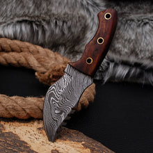 Load image into Gallery viewer, Custom Hand Forged Damascus Tracker Hunting Knife with Rose Wood Handle-AJ-3008