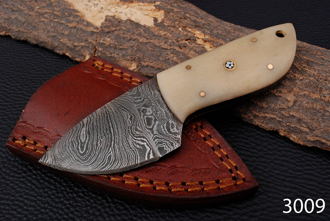 Custom Hand Made Damascus Steel Hunting Knife with Bone Handle AJ 3009
