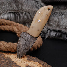 Load image into Gallery viewer, Custom Hand Made Damascus Steel Hunting Knife with Bone Handle AJ 3009