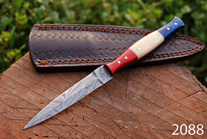 Customs Hand Forged Damascus Steel Dagger Throwing Boot Knife bone & Stained Wood Handle-AJ-2088