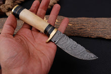 Load image into Gallery viewer, Custom Hand Made Damascus Steel Hunting Knife with Camel bone Handle AJ 3015