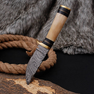 Custom Hand Made Damascus Steel Hunting Knife with Camel bone Handle AJ 3015