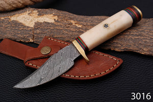 Custom Hand Made Damascus Steel Hunting Knife with Camel bone Handle AJ 3016
