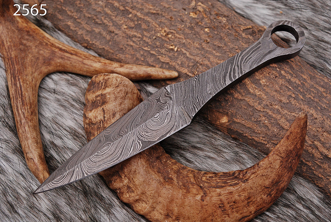 Custom Hand Forged Damascus Steel Hunting blank blade Knife AJ-2565