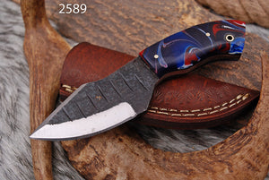 Damascus Hand Made Miniature Haunting Knife With Leather Sheath AJ-2589