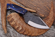 Load image into Gallery viewer, Damascus Hand Made Miniature Haunting Knife With Leather Sheath AJ-2589