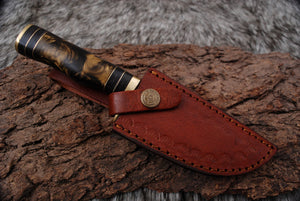 Damascus forged Steel Hunting Kukri Knife Bone Handle Comes with Leather Sheath AJ-2298