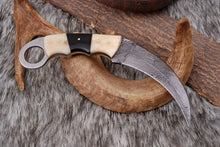 Load image into Gallery viewer, Custom Hand Forged Damascus Steel Hunting Knife Camel Bone Handle  AJ-2226