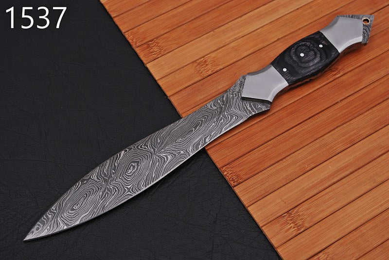 Damascus Dagger Knife Steel Bolster with Wood Handle -AJ 1537