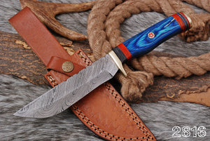 Custom Hand Forged Damascus Brass Guard Hunting  Knife With Stained Wood Handle-AJ 2816