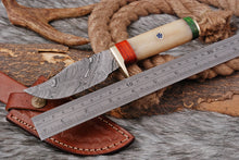 Load image into Gallery viewer, Custom Hand Forged Brass Guard Hunting Knife with Bone Handle AJ 2819