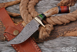 Custom Hand Forged Damascus Hunting Knife Stag Handle brass guard- AJ 2820