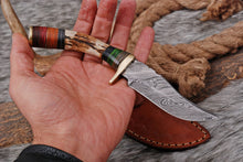 Load image into Gallery viewer, Custom Hand Forged Damascus Hunting Knife Stag Handle brass guard- AJ 2820