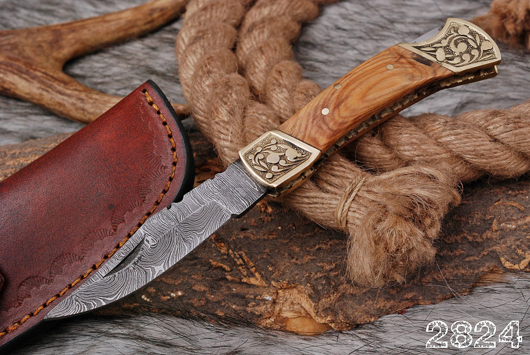 Custom Hand Forged Damascus Folding Knife Engraved brass Stained Wood handle - AJ 2824