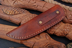 CUSTOM HAND MADE GENUINE LEATHER SHEATH WITH ENGRAVED AJ 3222