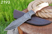 Load image into Gallery viewer, Hand forged Damascus Hunting Knife Steel Bloster with bone Handle-AJ-2193