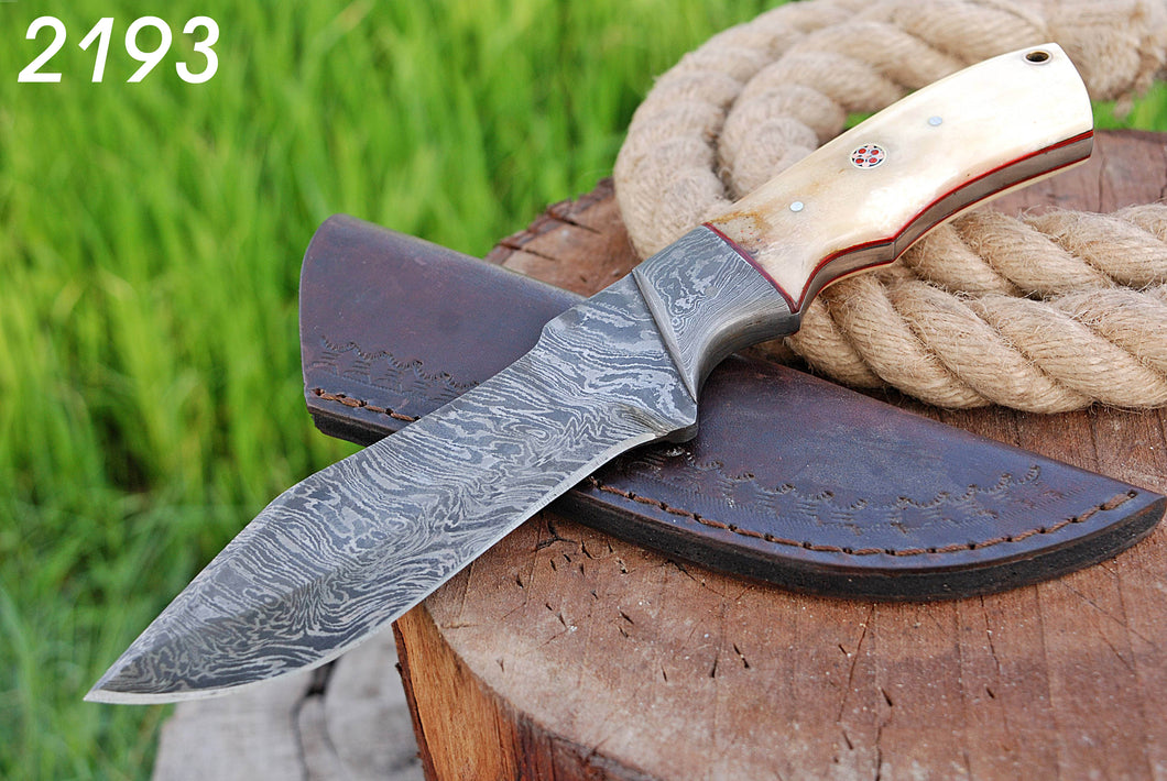 Hand forged Damascus Hunting Knife Steel Bloster with bone Handle-AJ-2193