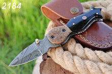 Load image into Gallery viewer, Hand Forged Damascus Steel Folding Knife Engraved Copper Bolster with Bull Horn Handle-AJ 2184