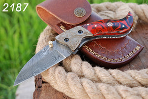 Customs Hand Forged Damascus Steel Folding Knife Engraved Copper Bolster Resin Handle-AJ 2187