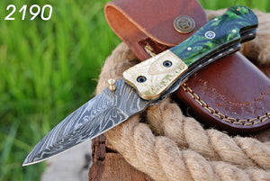 Hand Forged Damascus Steel Folding Knife Brass Bolster with Resin Handle-AJ 2190
