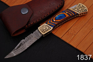 Custom Hand Forged Damascus Steel Folding Knife Engraved Brass Bolster with Stained wood Handle-AJ 1837