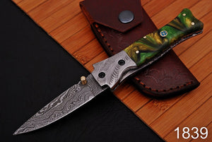 Damascus Steel Folding Knife Engraved Steel Bolster with Resin Handle-AJ 1839