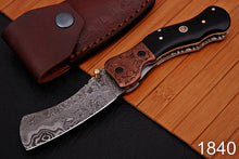Load image into Gallery viewer, Damascus Steel Folding Knife Engraved Brass Bolster with Bull Horn Handle-AJ 1840
