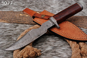 Custom Hand Forged Damascus Hunting Damascus guard with Rose wood handle-AJ-3077