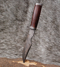Load image into Gallery viewer, Custom Hand Forged Damascus Hunting Damascus guard with Rose wood handle-AJ-3077
