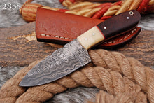 Load image into Gallery viewer, Custom Hand forged Damascus Hunting Knife Bone& Rose Wood Handle-AJ-2835