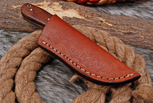Custom Hand forged Damascus Hunting Knife Bone& Rose Wood Handle-AJ-2835