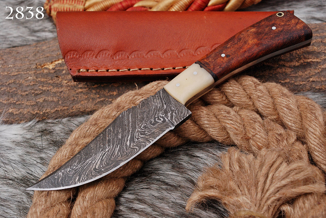 Hand forged Damascus Hunting Knife Bone& Rose Wood Handle-AJ-2838