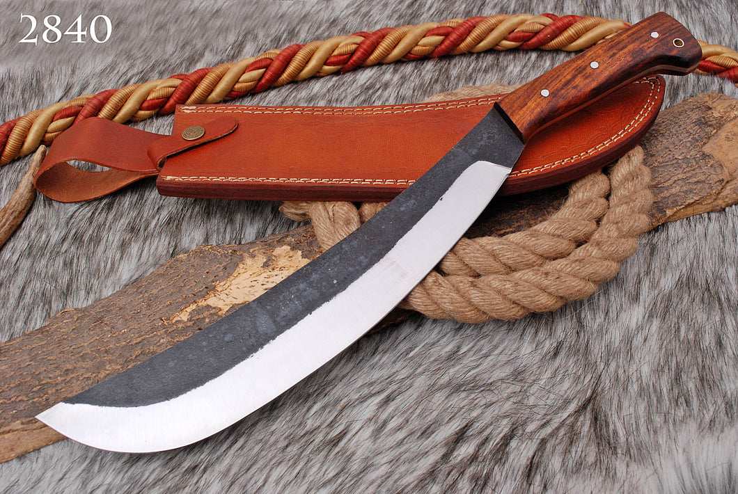 Custom Hand Forged High Carbon Steel Hunting Kukri Knife Rail Road Rose Wood skinner Knife Handle AJ-2840