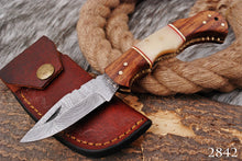 Load image into Gallery viewer, CUSTOM HAND FORGED DAMASCUS STEEL FOLDING KNIFE W/ ROSE WOOD & BONE HANDLE AJ-2842