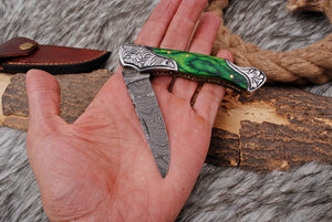 Custom Hand Forged Damascus Steel Folding Knife Engraved Steel Bolster with Stained Wood Handle AJ-2844