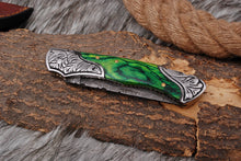 Load image into Gallery viewer, Custom Hand Forged Damascus Steel Folding Knife Engraved Steel Bolster with Stained Wood Handle AJ-2844