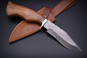 Custom Hand forged Damascus Hunting Knife Pure Leather sheath & brass guard with Rose wood handle- AJ 2608
