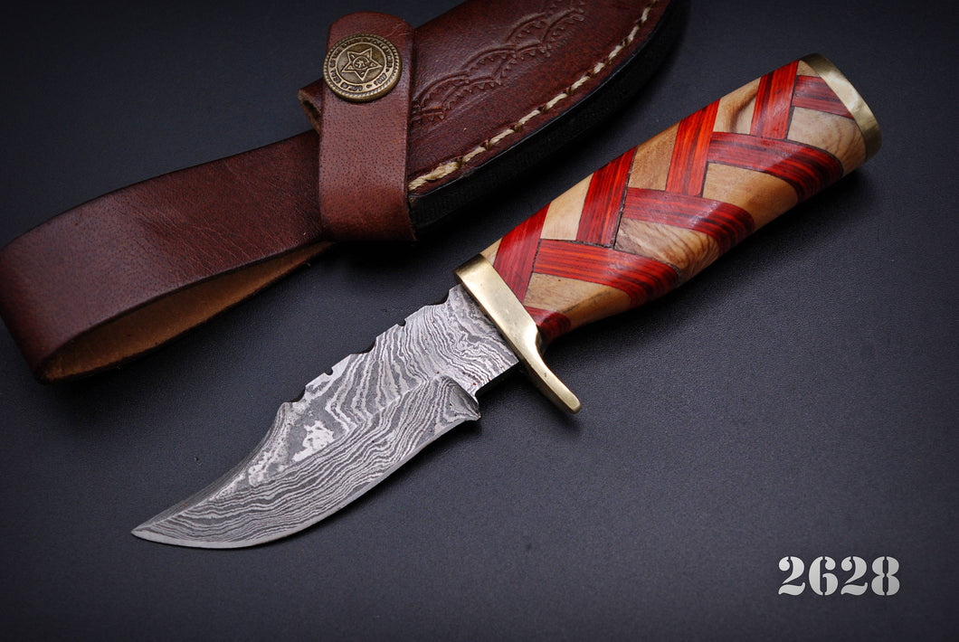 Hand Forged Damascus Steel Hunting Knife Brass guard Olive &stained Wood Handle-AJ-2628