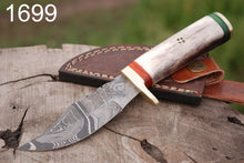 Load image into Gallery viewer, Damascus Steel Hunting Knife Brass Guard Bone Handle-AJ-1699