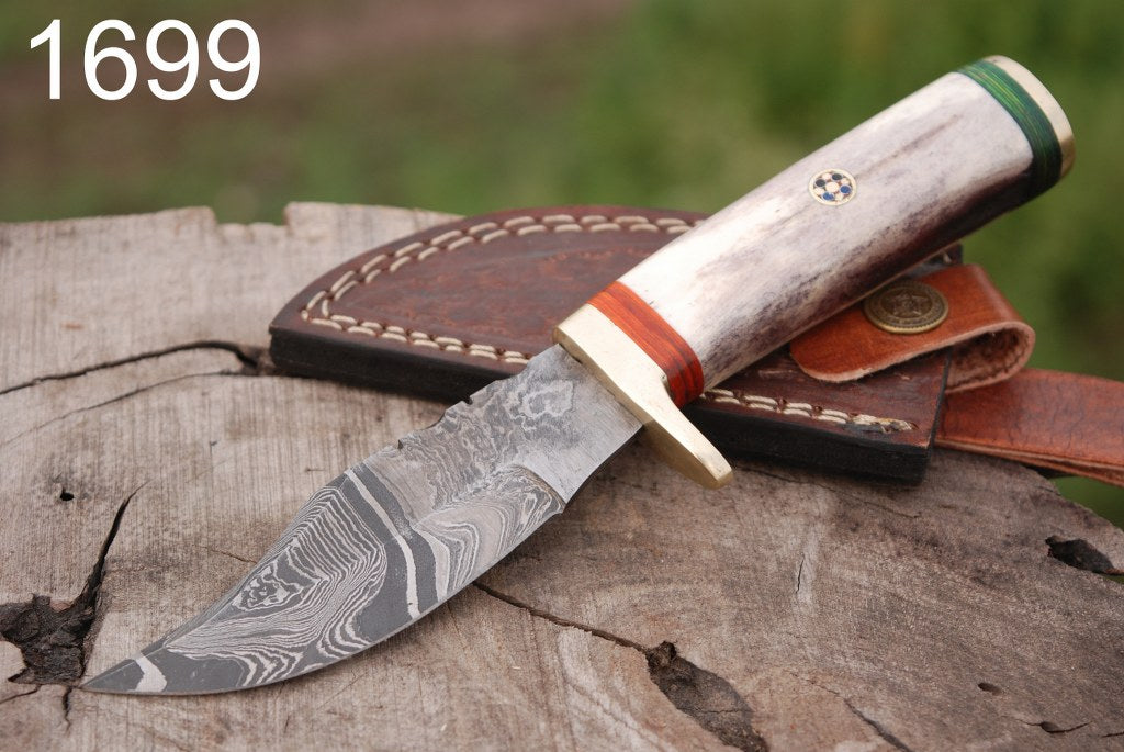 Damascus Steel Hunting Knife Brass Guard Bone Handle-AJ-1699