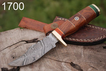 Load image into Gallery viewer, Custom Hand Forged Damascus Steel Hunting Knife Brass Guard Rose wood Handle-AJ-1700