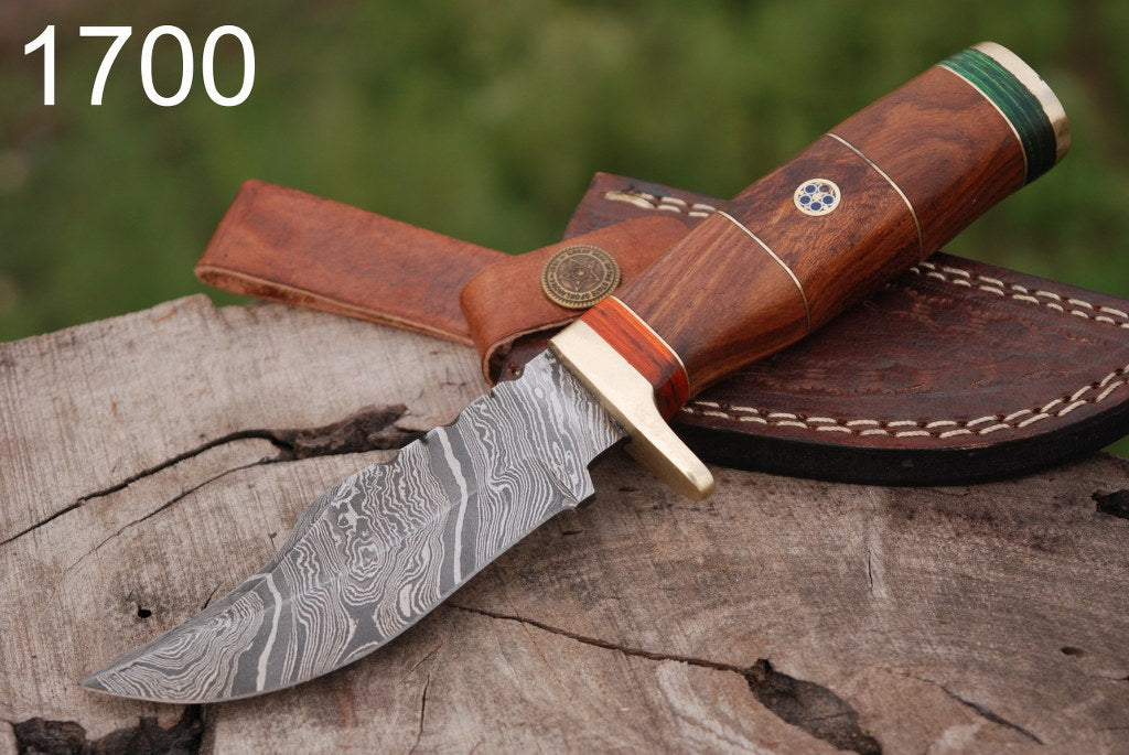 Custom Hand Forged Damascus Steel Hunting Knife Brass Guard Rose wood Handle-AJ-1700