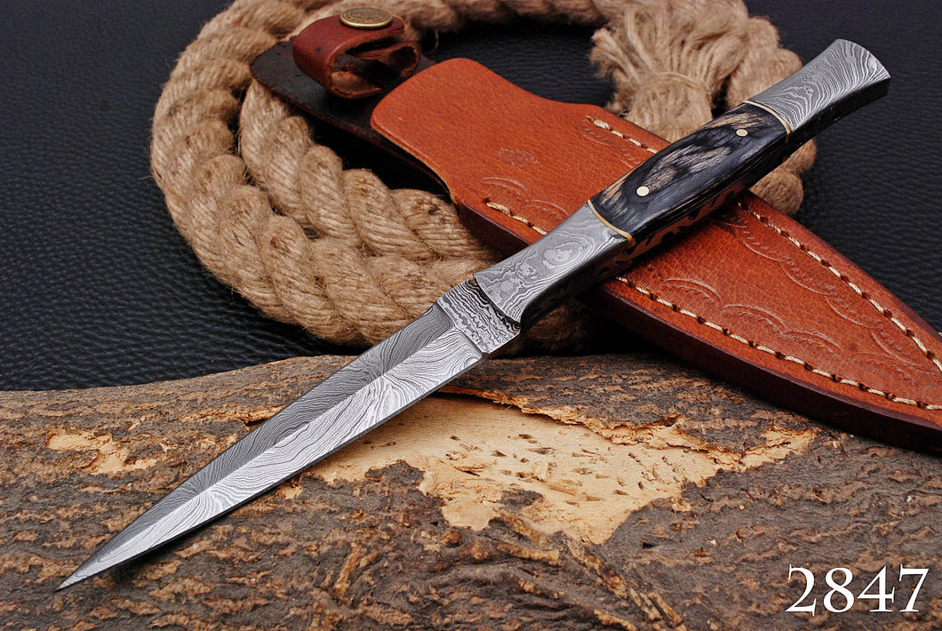 Custom Hand Made Damascus Steel Dagger Boot Hunting Throwing Knife Damascus Bolster with Stained Wood AJ 2847