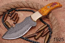 Load image into Gallery viewer, Custom Hand Forged Damascus Tracker Hunting Knife Brass bolster Resin Wood Handle-AJ-1925